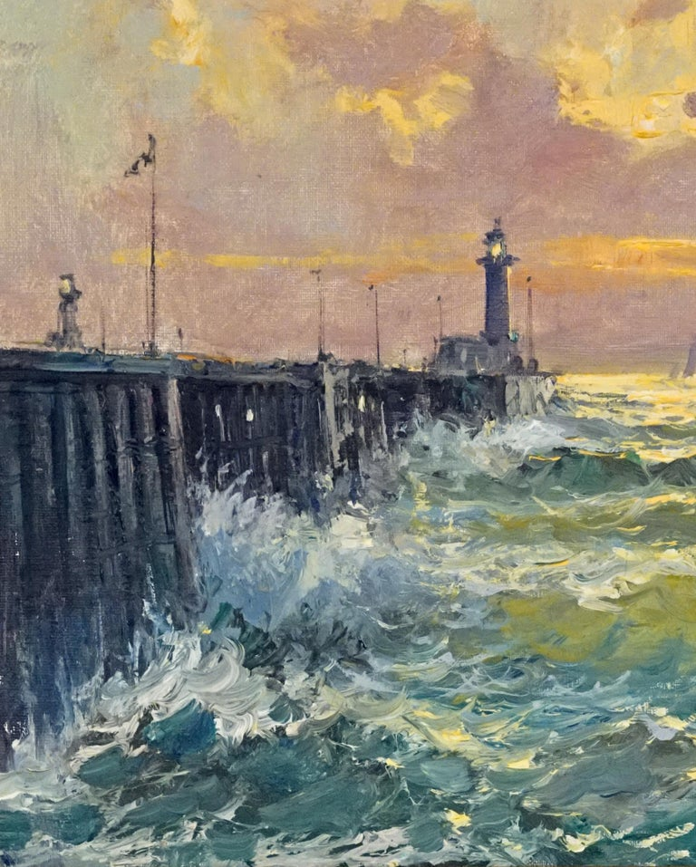 Lighthouse At Fecamp - Post-War Painting by Jean Salabet