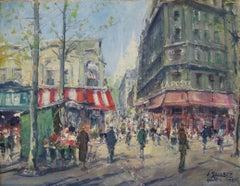 """Montmarte, Paris, France,"" Jean Salabet, European Impressionist Street Scene"