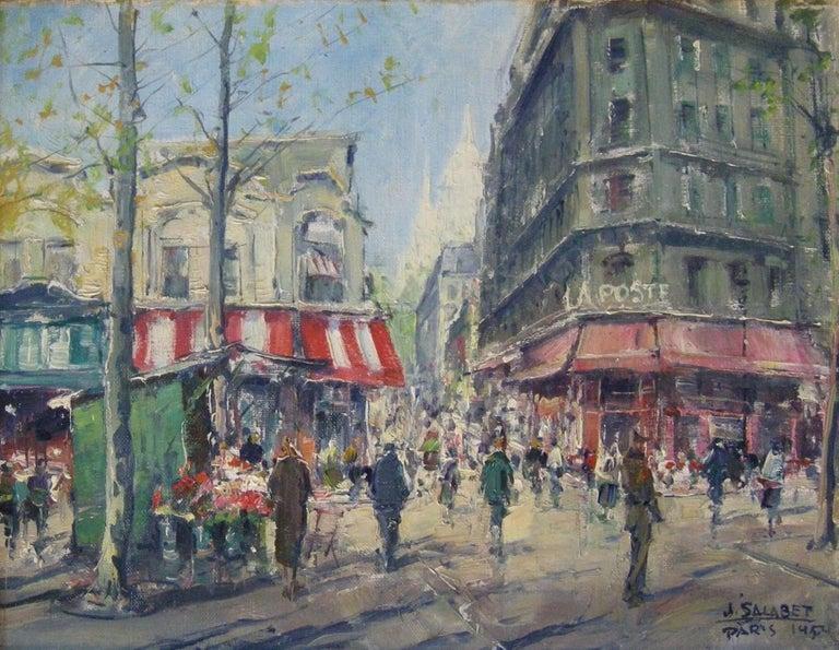"""Montmarte, Paris, France,"" Jean Salabet, European Impressionist Street Scene - Painting by Jean Salabet"