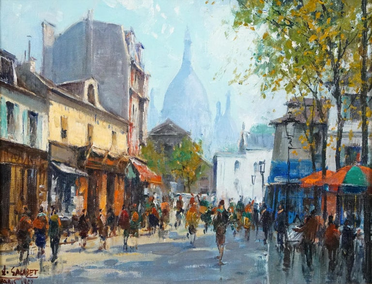 Montmartre -La Place Dutertre,Paris 1952 - Painting by Jean Salabet