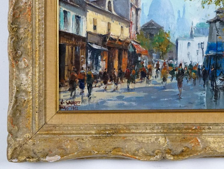 Montmartre -La Place Dutertre,Paris 1952 - Post-Impressionist Painting by Jean Salabet