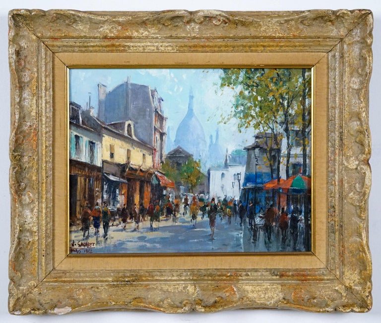 Montmartre -La Place Dutertre,Paris 1952 - Brown Landscape Painting by Jean Salabet