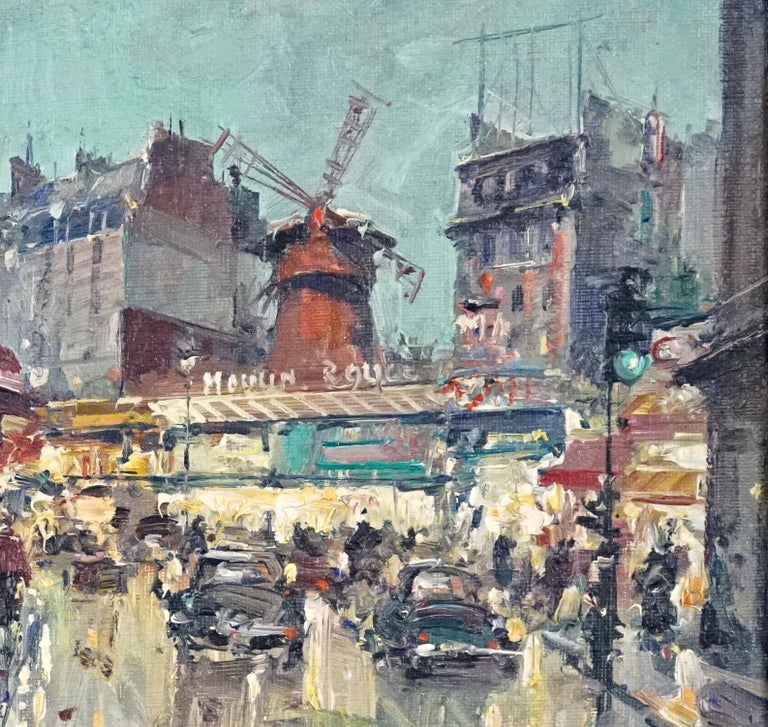 Jean Salabet French, B. 1900 Moulin Rouge  Oil on canvas  10 ½ by 13 ¾ in.  W/frame 17 ½ by 20 ¾ in. Signed lower right   Jean Salabet was a School of Paris painter know for his colorful Parisian cityscapes.  His work is comparable to those of Jules