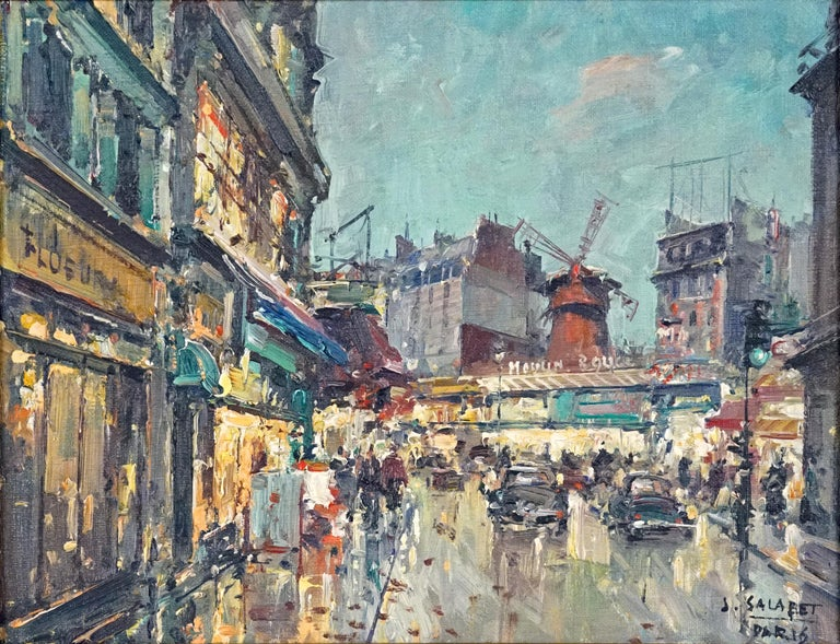Jean Salabet Landscape Painting - Moulin Rouge Painting by Marcel Dyf
