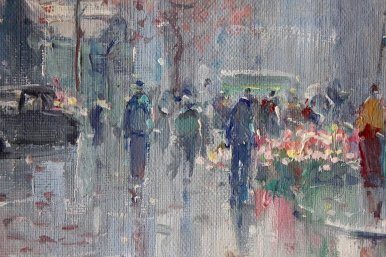 A beautiful oil on canvas painting by the French artist, Jean Salabet. Salabet was a Parisian painter known for his colorful cityscapes depicting the times of his generation. His work is comparable to those of Jules Herve, Antoine Blanchard and