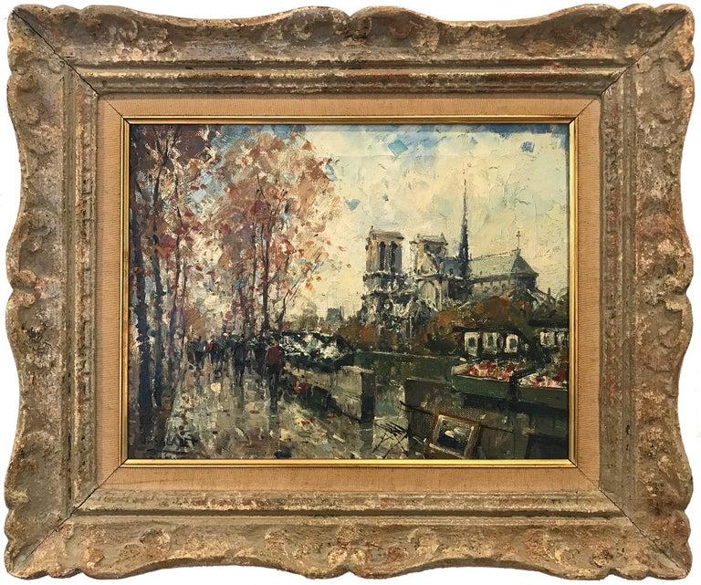 "Jean Salabet Landscape Painting - ""Notre Dame"" Post-Impressionist Parisian Street Scene Oil Painting on Canvas"