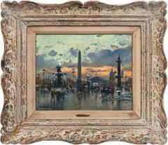 """""""Place de la Concord"""" Post-Impressionist Parisian Street Scene Oil on Canvas"""