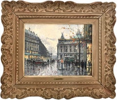 """Place de l'Opéra"" Impressionist Parisian Street Scene Oil Painting on Canvas"
