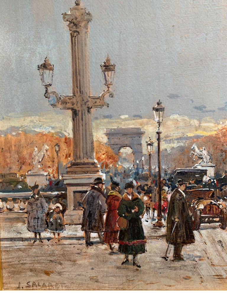 Street Scene in Paris from the 1930 period - Painting by Jean Salabet