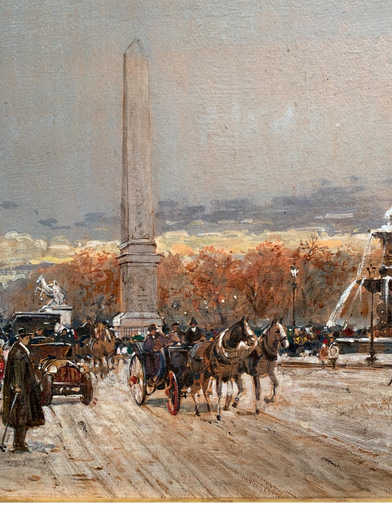 Street Scene in Paris from the 1930 period - Impressionist Painting by Jean Salabet