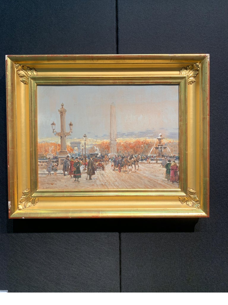 Jean Salabet Landscape Painting - Street Scene in Paris from the 1930 period