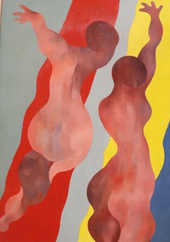 Dancing Figures on a Grey, Red, Yellow & Blue background.