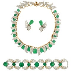 Jean Schlumberger for Tiffany & Co. Carved Emerald Diamond Gold Set