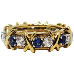 Jean Schlumberger for Tiffany & Co. Diamond and Sapphire Sixteen-Stone Ring 4.25
