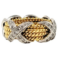 Jean Schlumberger for Tiffany & Co. Diamond X Four Row Rope Band Ring Two-Tone