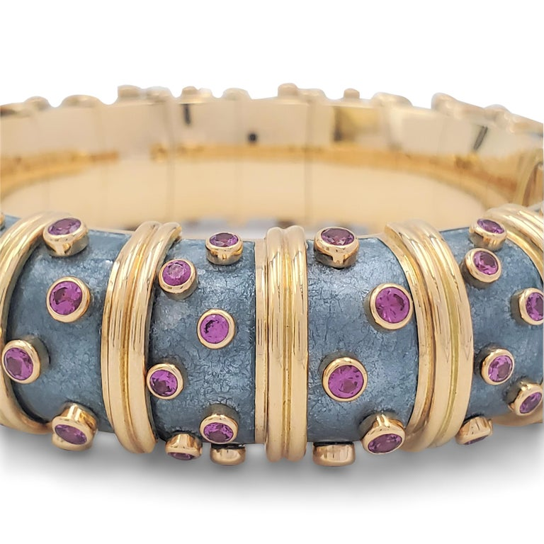 Round Cut Jean Schlumberger for Tiffany & Co. 'Jackie' Pink Sapphire and Enamel Bracelet For Sale