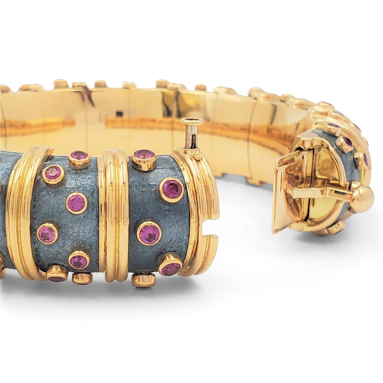 Jean Schlumberger for Tiffany & Co. 'Jackie' Pink Sapphire and Enamel Bracelet In Excellent Condition For Sale In New York, NY