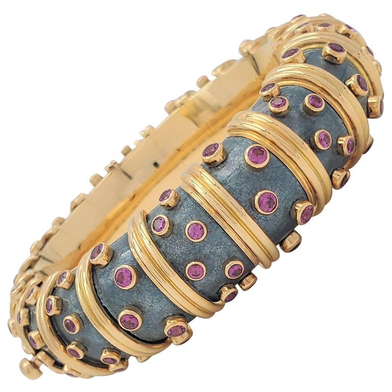Jean Schlumberger for Tiffany & Co. 'Jackie' Pink Sapphire and Enamel Bracelet For Sale
