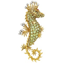 Jean Schlumberger for Tiffany & Co. Peridot, Diamond, Ruby and Gold Seahorse