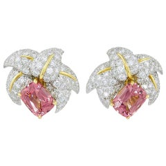 Jean Schlumberger for Tiffany & Co. Pink Tourmaline and Diamond Ear Clips