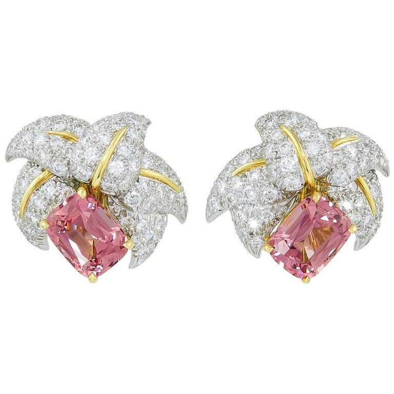 Mixed Cut Jean Schlumberger for Tiffany & Co. Pink Tourmaline and Diamond Earrings For Sale