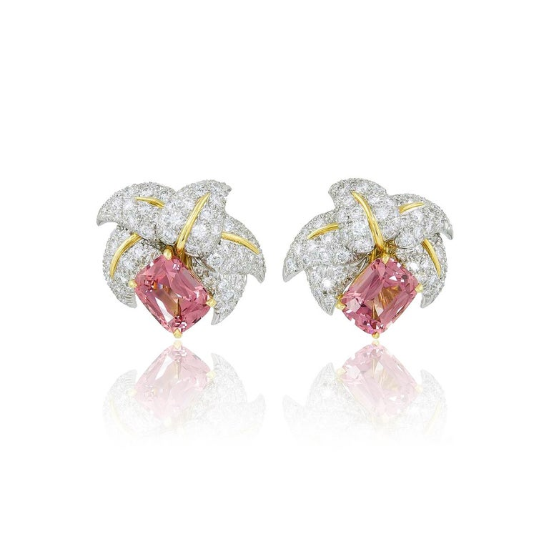 Jean Schlumberger for Tiffany & Co. Pink Tourmaline and Diamond Earrings In Excellent Condition For Sale In Boston, MA