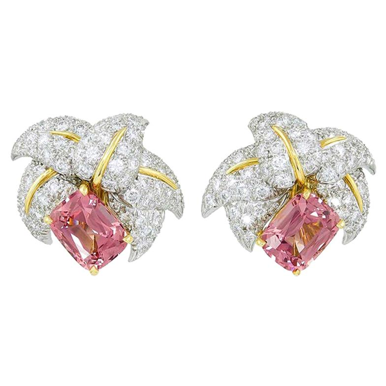 Jean Schlumberger for Tiffany & Co. Pink Tourmaline and Diamond Earrings