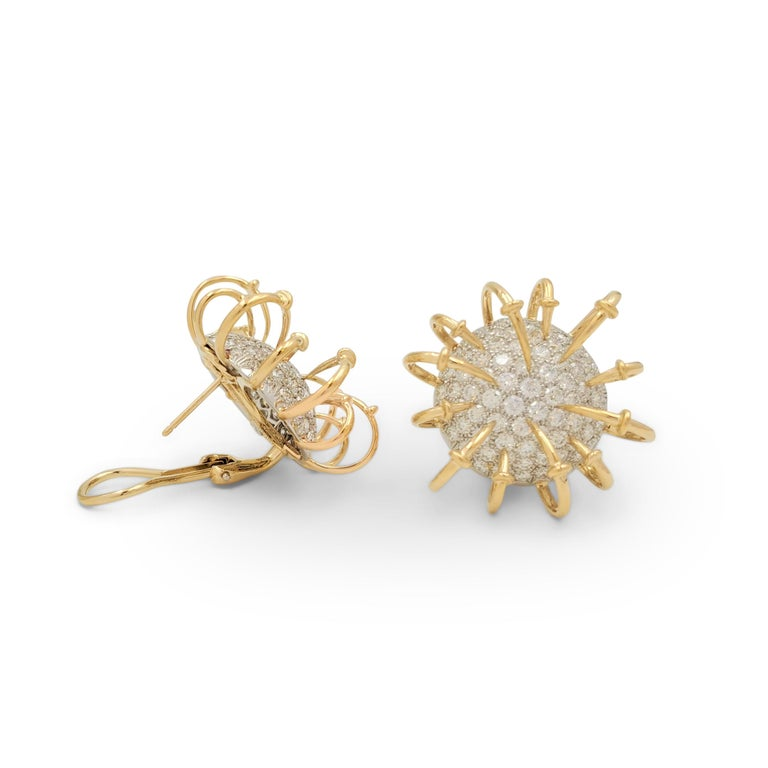 Round Cut Jean Schlumberger for Tiffany & Co. Platinum Gold and Diamond 'Apollo' Earrings For Sale