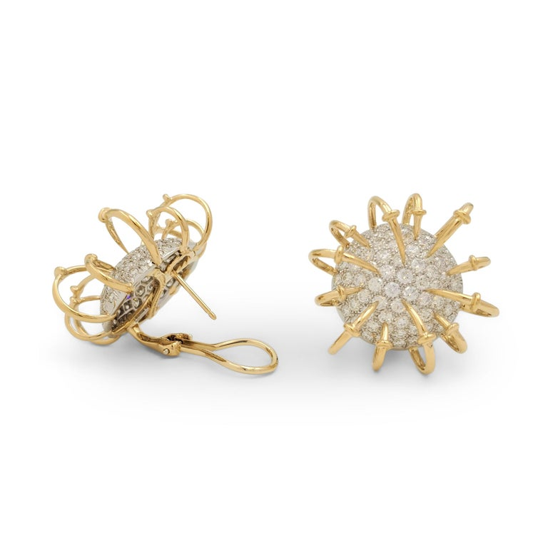Jean Schlumberger for Tiffany & Co. Platinum Gold and Diamond 'Apollo' Earrings In Excellent Condition For Sale In New York, NY