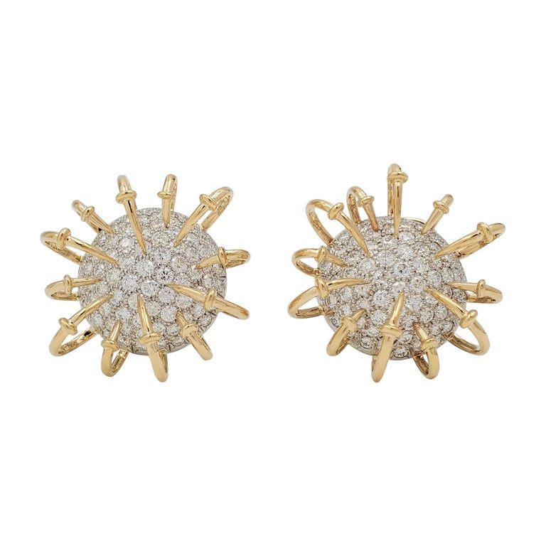 Jean Schlumberger for Tiffany & Co. Platinum Gold and Diamond 'Apollo' Earrings For Sale