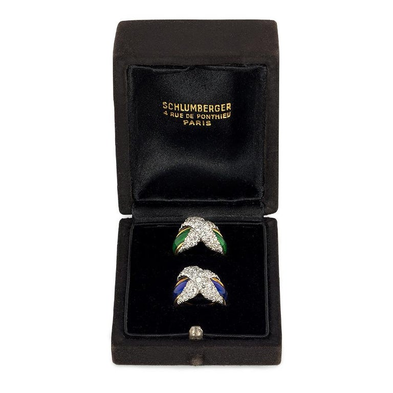 Jean Schlumberger Mid-Century Gold, Enamel, and Diamond Paired Pinkie Rings In Good Condition For Sale In New York, NY