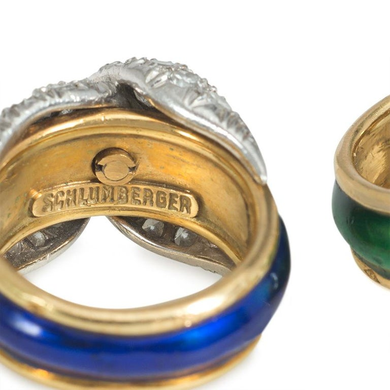 Single Cut Jean Schlumberger Mid-Century Gold, Enamel, and Diamond Paired Pinkie Rings For Sale