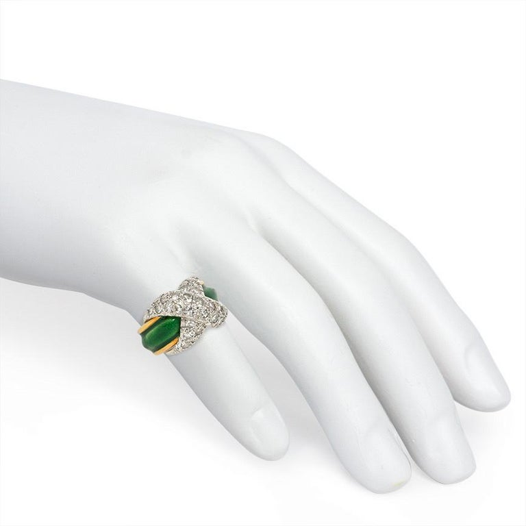 Jean Schlumberger Mid-Century Gold, Enamel, and Diamond Paired Pinkie Rings For Sale 1