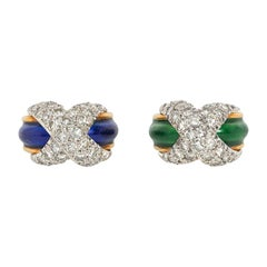 Jean Schlumberger Mid-Century Gold, Enamel, and Diamond Paired Pinkie Rings