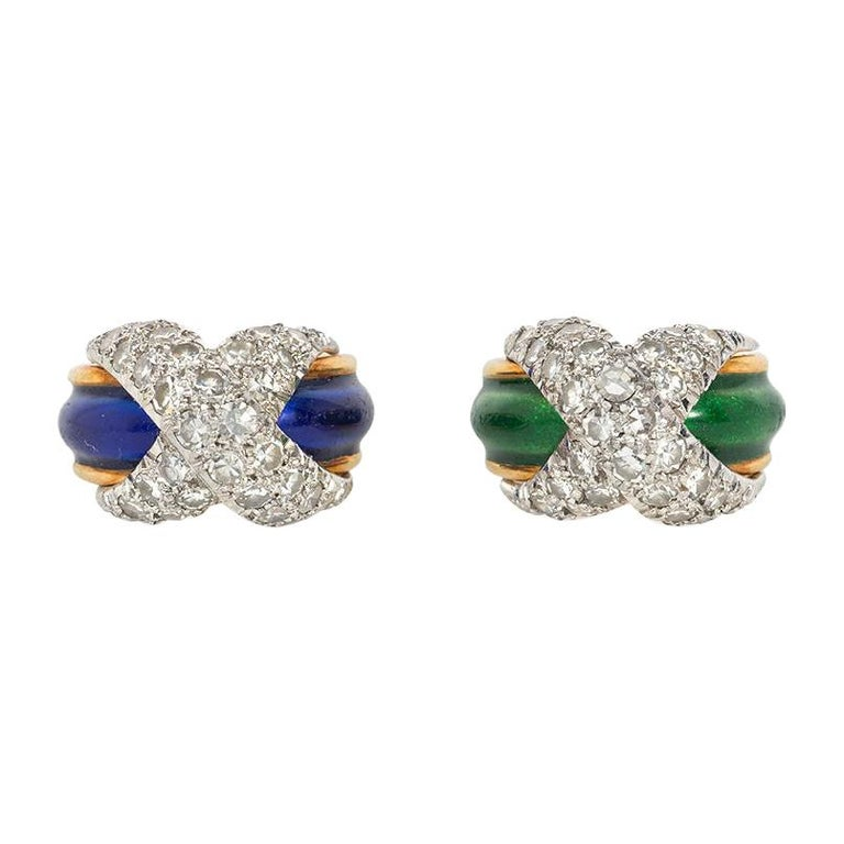 Jean Schlumberger Mid-Century Gold, Enamel, and Diamond Paired Pinkie Rings For Sale