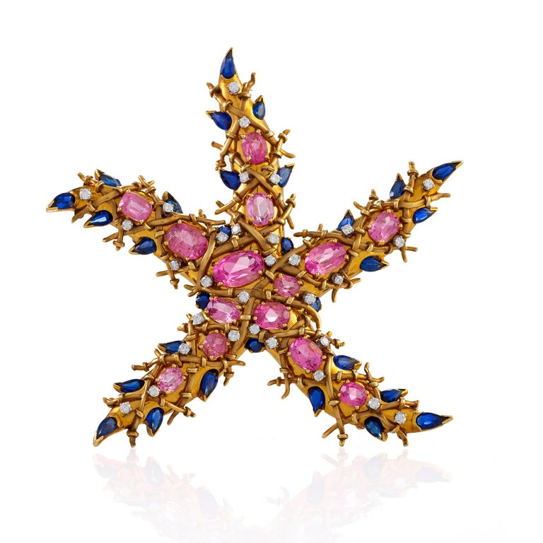 """Jean Schlumberger Pink Tourmaline and Sapphire """"Étoile de Mer"""" Starfish Brooch In Excellent Condition For Sale In New York, NY"""