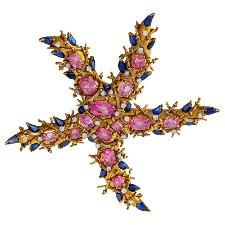 "Jean Schlumberger Pink Tourmaline and Sapphire ""Étoile de Mer"" Starfish Brooch For Sale"