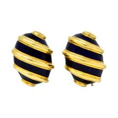 Jean Schlumberger Tiffany & Co. 18 Karat Gold Enamel Screwback Earrings Ca. 1960