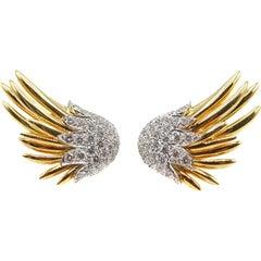 Jean Schlumberger Tiffany & Co. Flame Diamond Platinum 18 Karat Gold Earrings