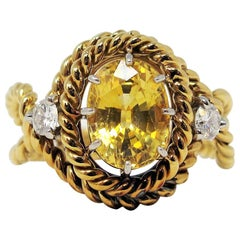 Jean Schlumberger Tiffany & Co. Yellow Sapphire and Diamond Ring 18 Karat Gold