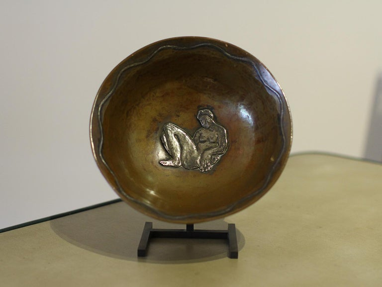 Jean Serriere (1893-1965) Very rare hammered copper and silver bowl on