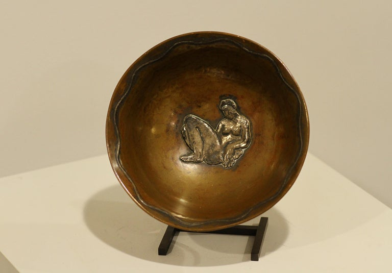 Art Deco Jean Serriere, Hammered Copper and Silver Bowl, 1922-1925 For Sale