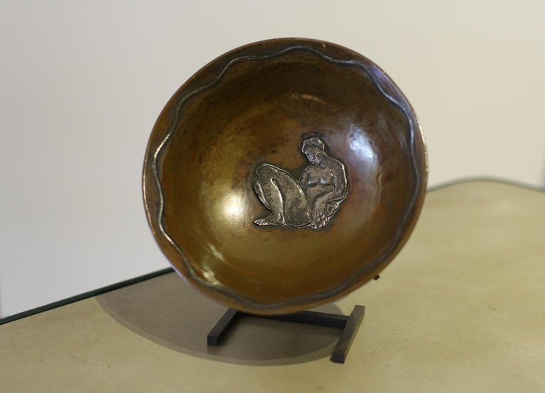 French Jean Serriere, Hammered Copper and Silver Bowl, 1922-1925 For Sale