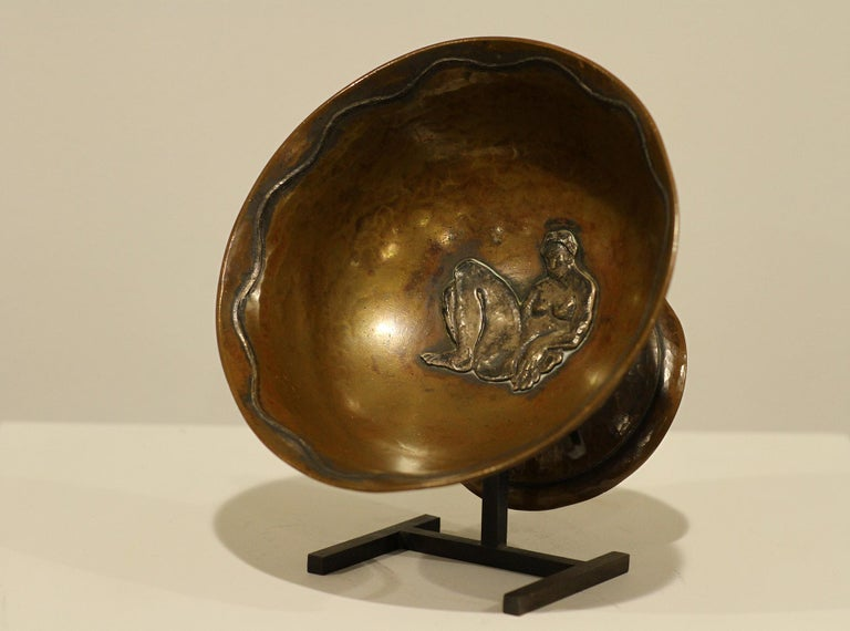 Appliqué Jean Serriere, Hammered Copper and Silver Bowl, 1922-1925 For Sale