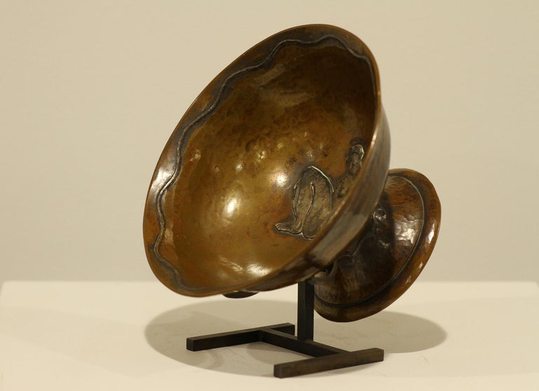 Jean Serriere, Hammered Copper and Silver Bowl, 1922-1925 In Excellent Condition For Sale In Encino, CA