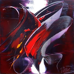 3D-Like Red and Purple Calligraphic Shape Abstract Oil Painting