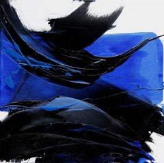 Black and Blue on White Background Squared Abstract Oil Painting
