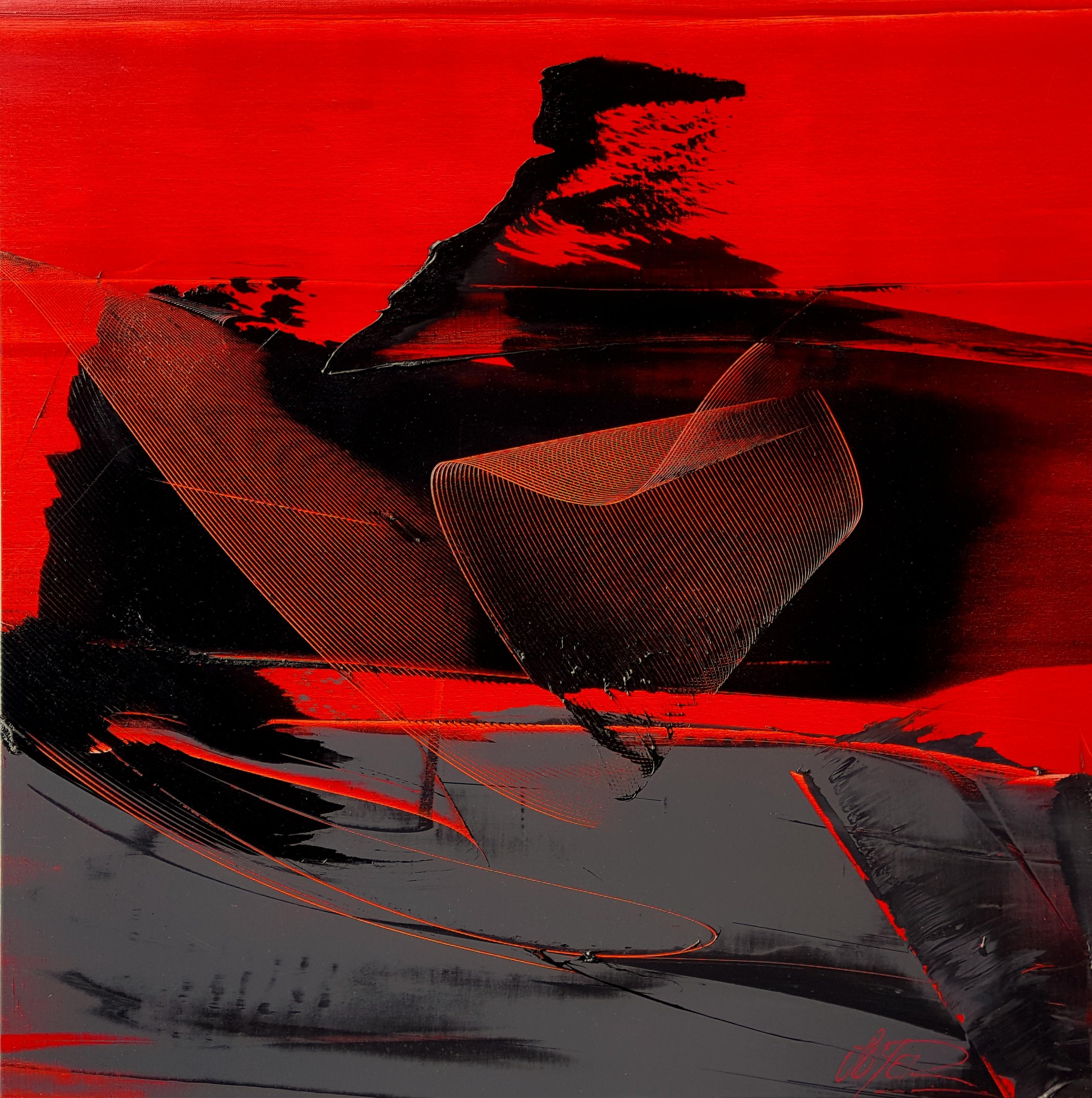 Black and Grey on Red Background Lyrical Abstraction Oil Painting, Untitled