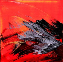 Black and Grey on Red Background with Yellow Stripes Squared Abstract Painting