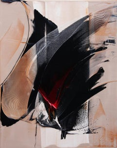 Black Calligraphic Gesture on Bicolor Beige Background Abstract Oil Painting